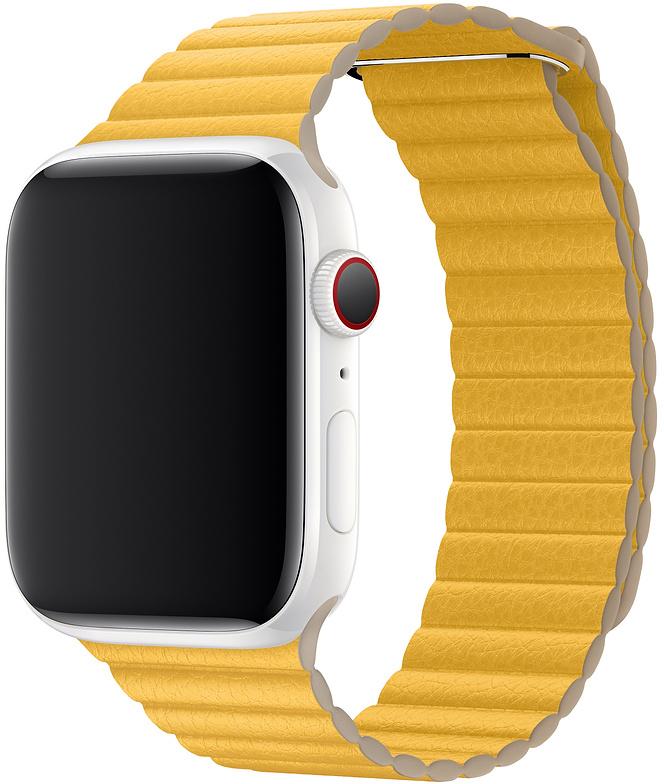 Ремешок Apple Leather Loop для Watch 44 мм размер M (лимонный сироп) фото
