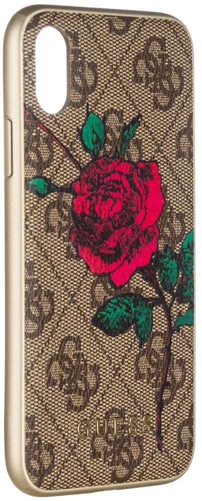 Клип-кейс Guess Flower Desire для Apple iPhone X (с рисунком) клип кейс guess iridescent для apple iphone x золотистый