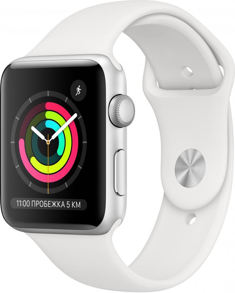 Умные часы Apple Watch Series 3, 42 мм, корпус из серебристого алюминия, спортивный ремешок белого цвета (MTF22RU/A) фото