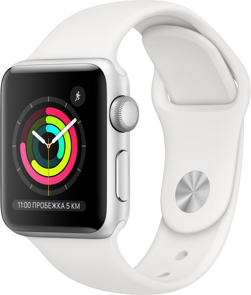 Умные часы Apple Watch Series 3, 38 мм, корпус из серебристого алюминия, спортивный ремешок белого цвета (MTEY2RU/A) фото