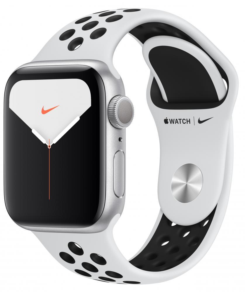 Умные часы Apple Watch Nike Series 5, 40 мм, корпус из алюминия цвета «серебристый», спортивный ремешок Nike цвета чистая платина/черный фото