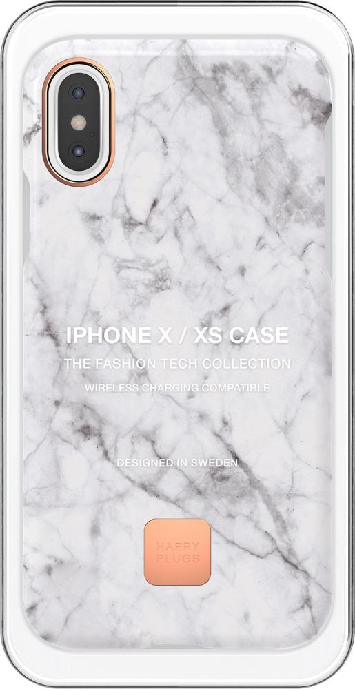 Клип-кейс Happy Plugs для Apple iPhone XS White Marble (белый мрамор) чехол накладка happy plugs 9160 защитная пленка для apple iphone x xs white marble