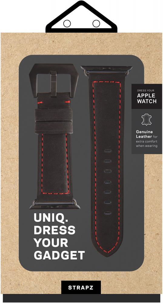 Ремешок Uniq Geniune Leather для Apple Watch 42/44mm (черный) фото