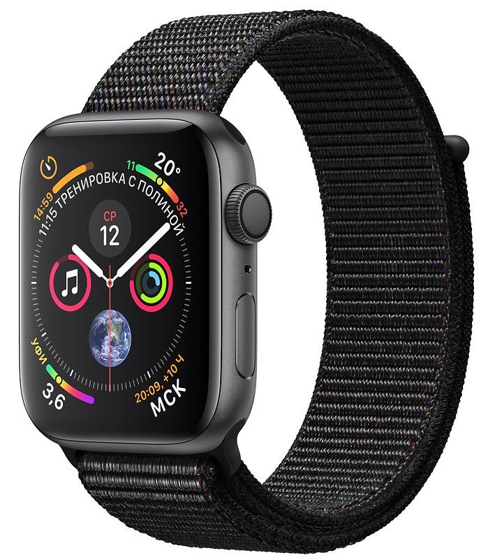 Умные часы Apple Watch Series 4, 44 мм, корпус из алюминия цвета «серый космос», спортивный браслет черного (серый)