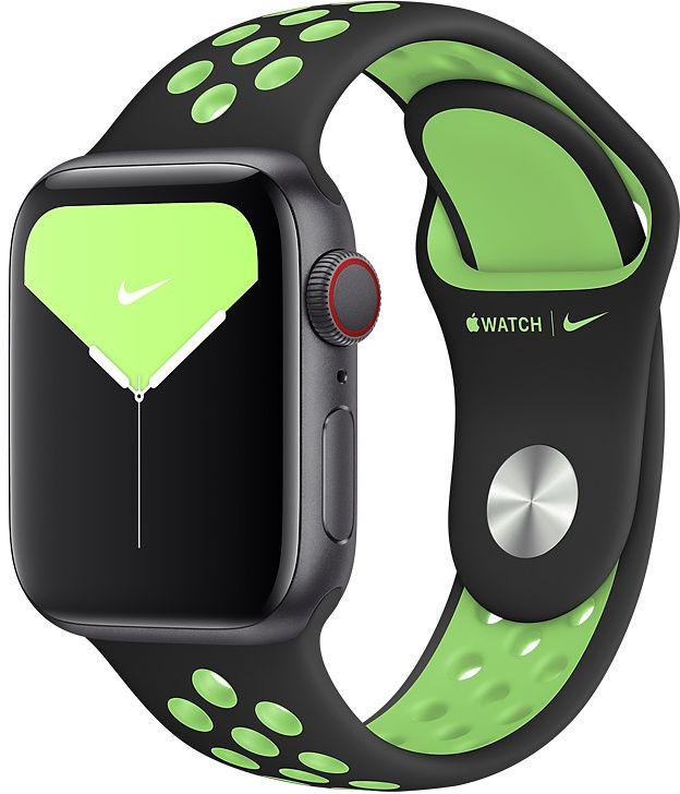 Ремешок Apple Nike Sport Band для Watch 40 мм размеры S/M и M/L (черный/лаймовый всплеск) фото