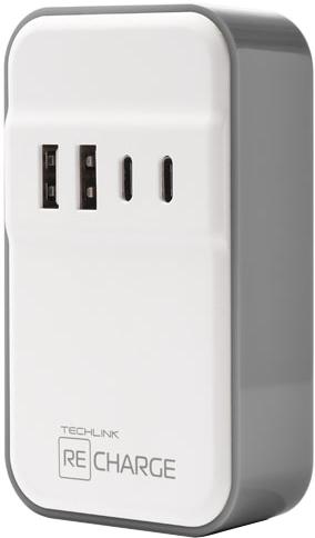 Сетевое зарядное устройство Techlink WallCharger 2 USB и 2 USB type C фото