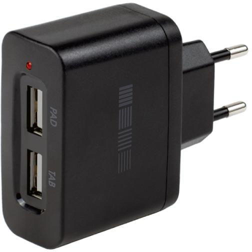 Сетевое зарядное устройство InterStep 2 USB 2000 мАч (черный) фото