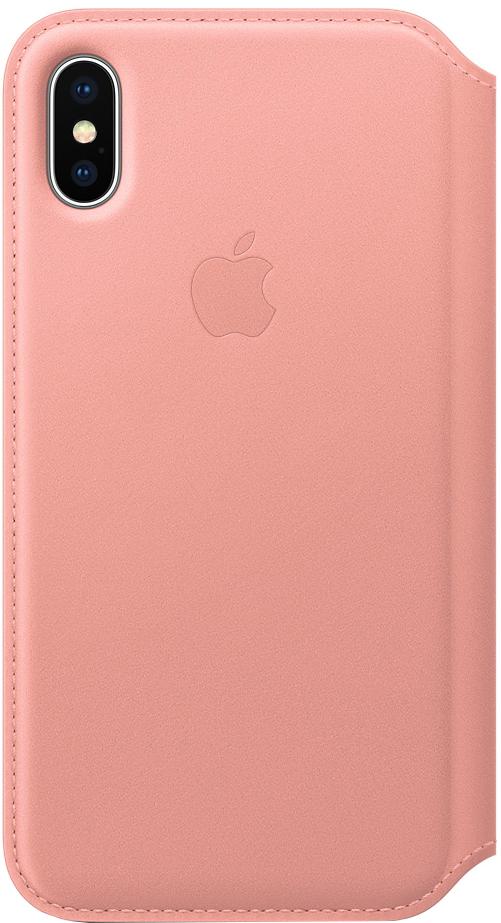 Чехол-книжка Apple Leather Folio для iPhone X (бледно-розовый) фото