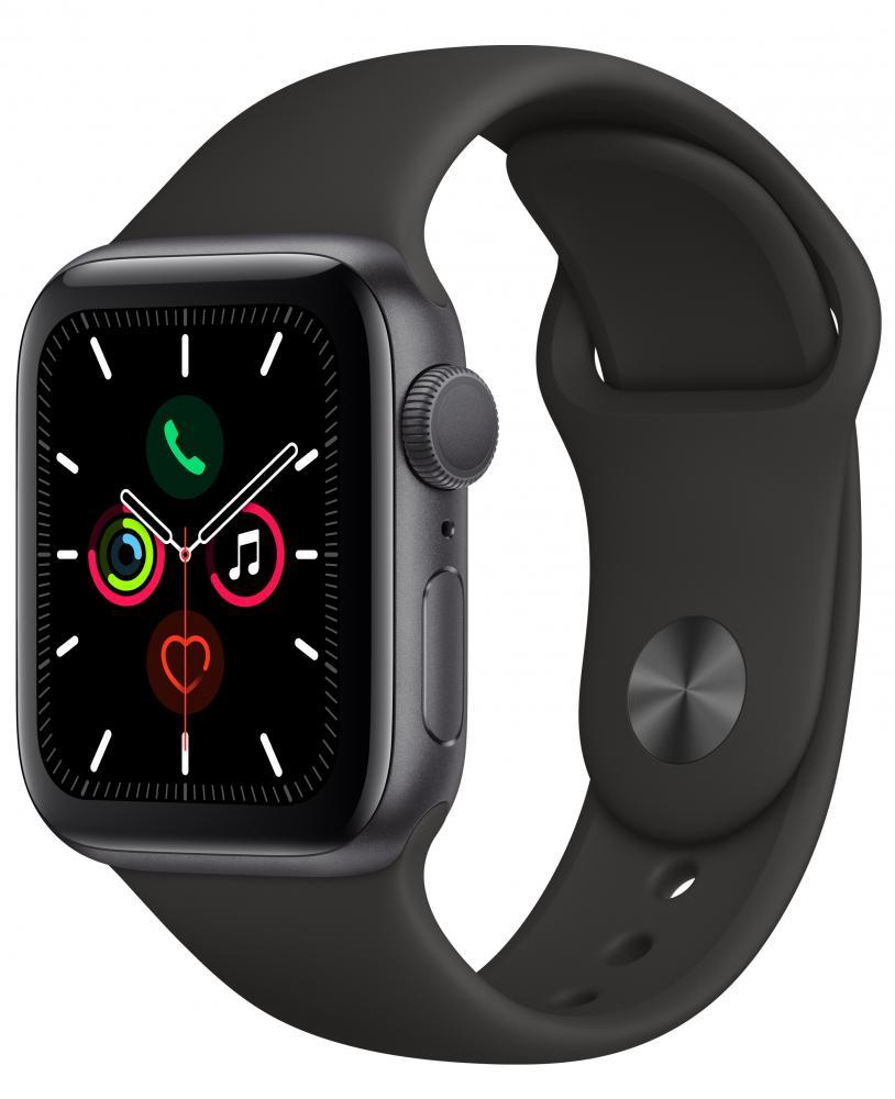 Умные часы Apple Watch Series 5, 44 мм, корпус из алюминия цвета «серый космос», спортивный ремешок черный