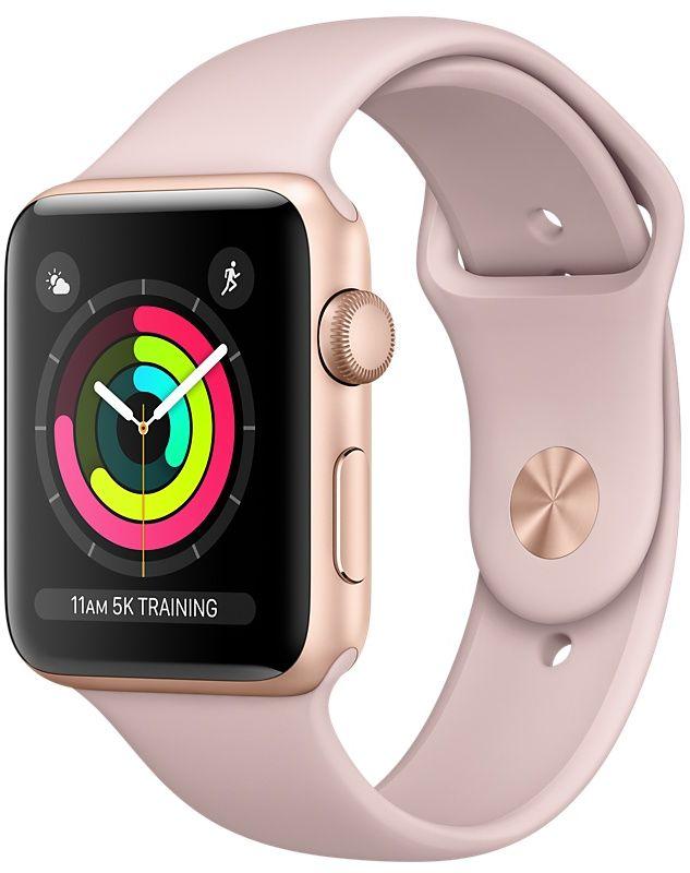 Apple Watch Series 3, 42 мм, корпус из золотистого алюминия, спортивный ремешок цвета «розовый песок»