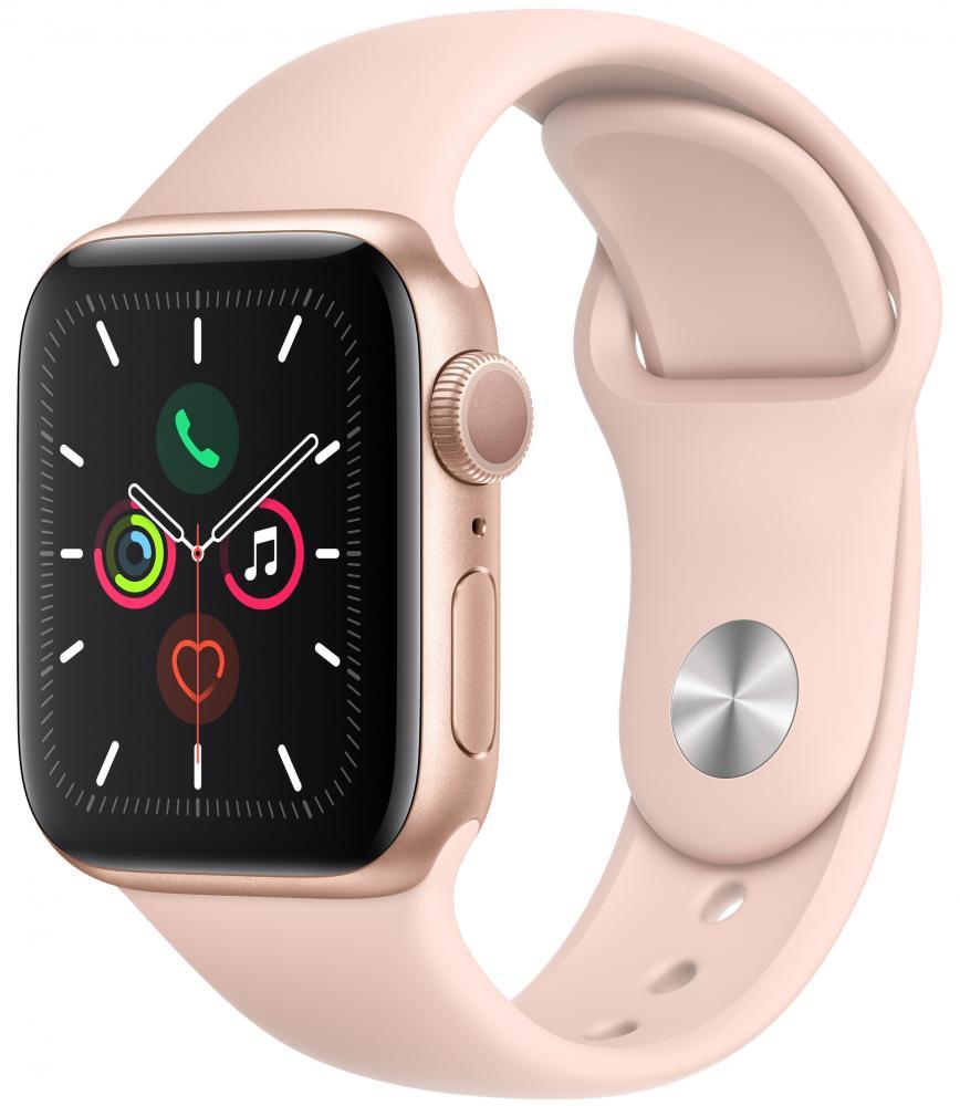 Умные часы Apple Watch Series 5, 44 мм, корпус из алюминия цвета «розовое золото», спортивный ремешок цвета «розовый песок» фото