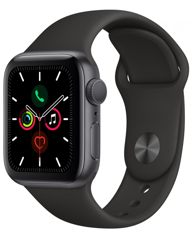 Умные часы Apple Watch Series 5, 40 мм, корпус из алюминия цвета «серый космос», спортивный ремешок цвета черный фото