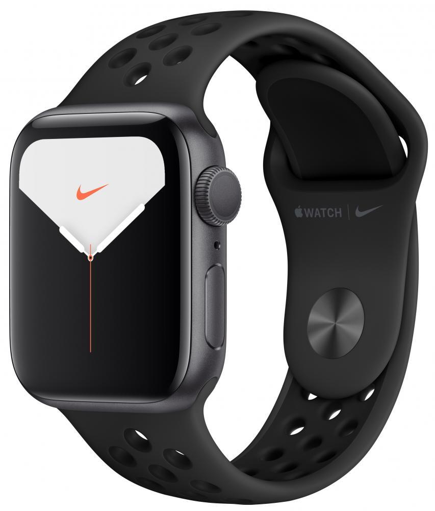 Умные часы Apple Watch Nike Series 5, 44 мм, корпус из алюминия цвета «серый космос», спортивный ремешок Nike цвета антрацитовый/черный фото