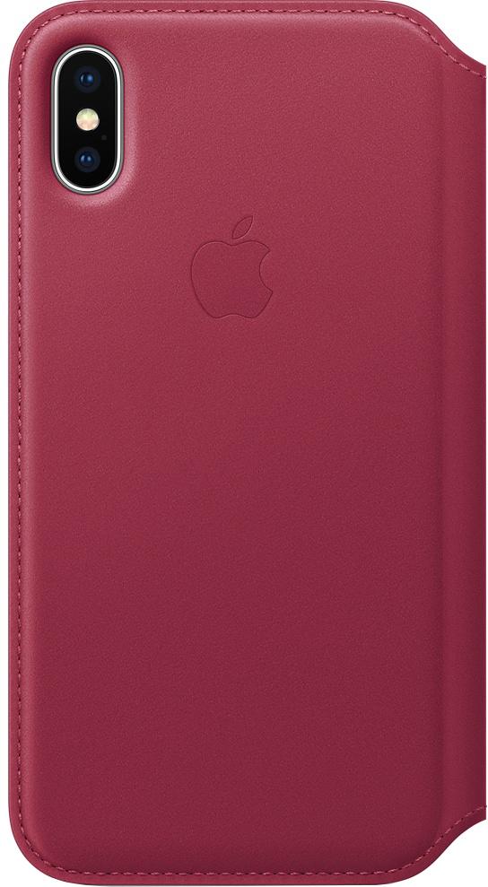 Чехол-книжка Apple Leather Folio для iPhone X (лесная ягода) фото
