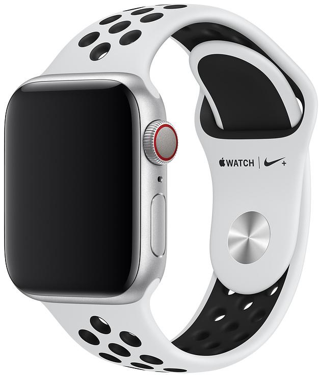 Ремешок Apple Nike Sport Band для Watch 40 мм размеры S/M и M/L (чистая платина/чёрный) фото