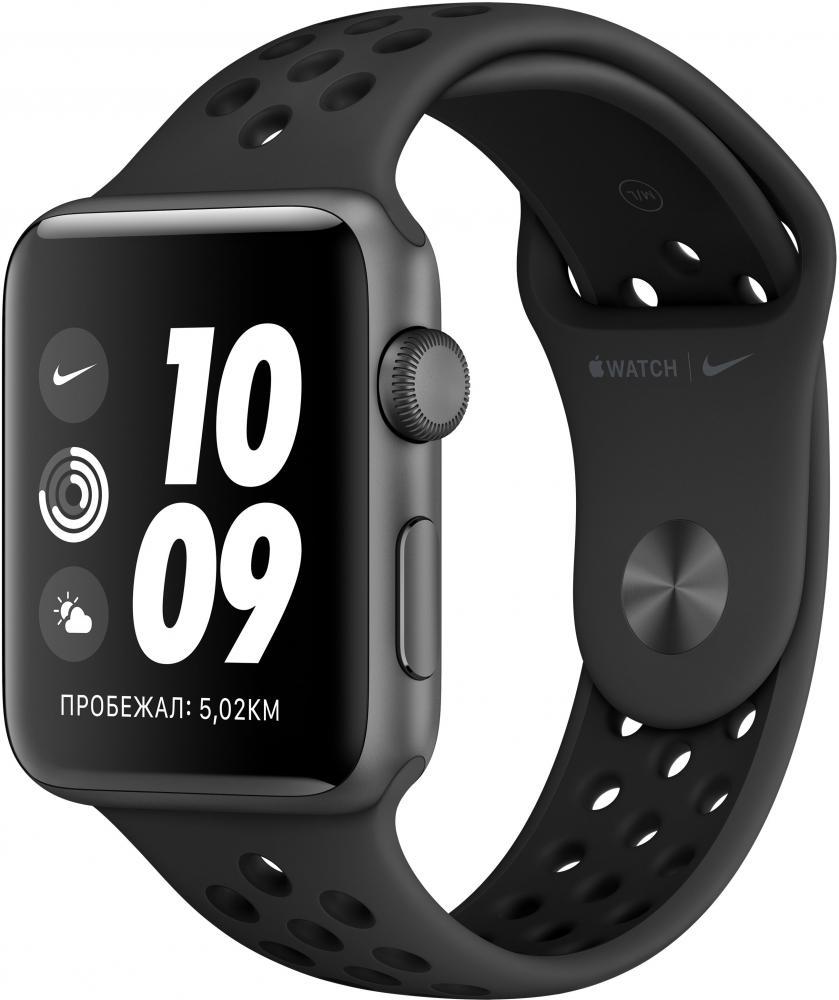 Умные часы Apple Watch Nike+ Series 3, 42 мм, корпус из алюминия цвета «серый космос», спортивный ремешок Nike цвета антрацитовый/черный (MTF42RU/A) фото