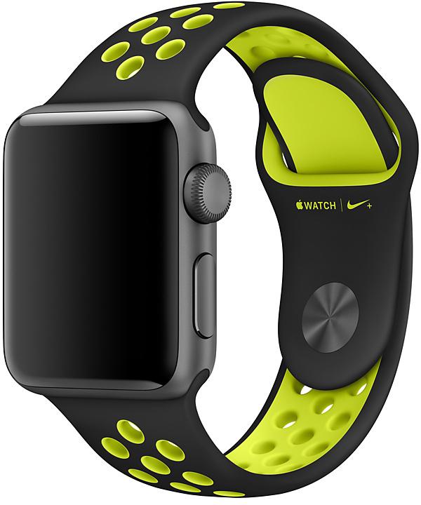 Ремешок Apple Nike для Apple Watch 38 мм (черный, салатовый) ремешок для смарт часов aceshley ремешок для apple watch 38 мм металлический черный магнитный замок ac38mb черный