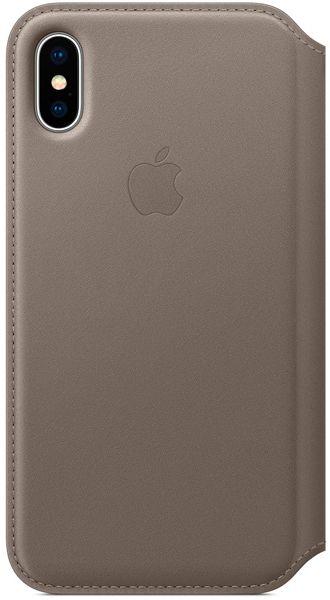 Клип-кейс Apple Leather Folio для iPhone X (платиново-серый) фото