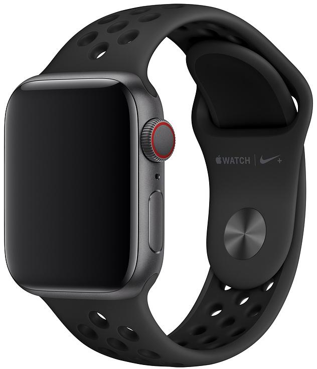 Ремешок Apple Nike Sport Band для Watch 40 мм размеры S/M и M/L (антрацитовый/чёрный) фото