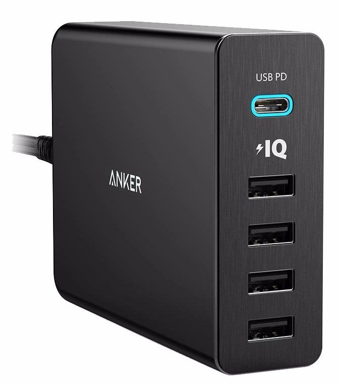 Сетевое зарядное устройство Anker PowerPort 5 USB C with USB Power delivery (черный) 5 in 1 aluminium usb c hub with card reader power delivery for macbook silver