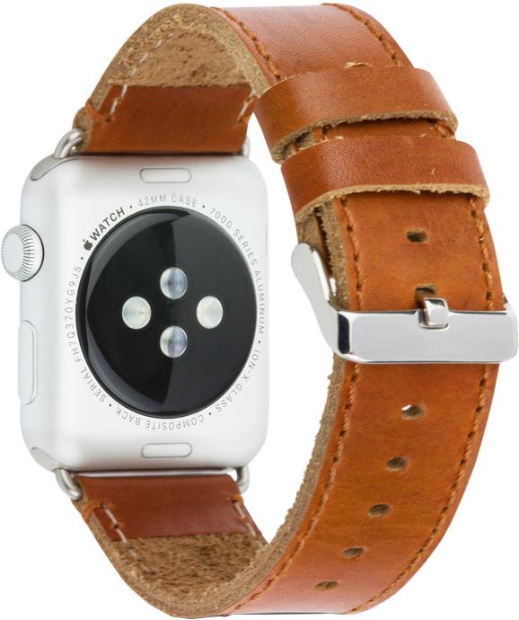 Ремешок DBramante1928 Copenhagen для Apple Watch 42 мм (серебристый, темно-коричневый) ремешок для смарт часов bikson stenless для apple watch 38 40 серебристый