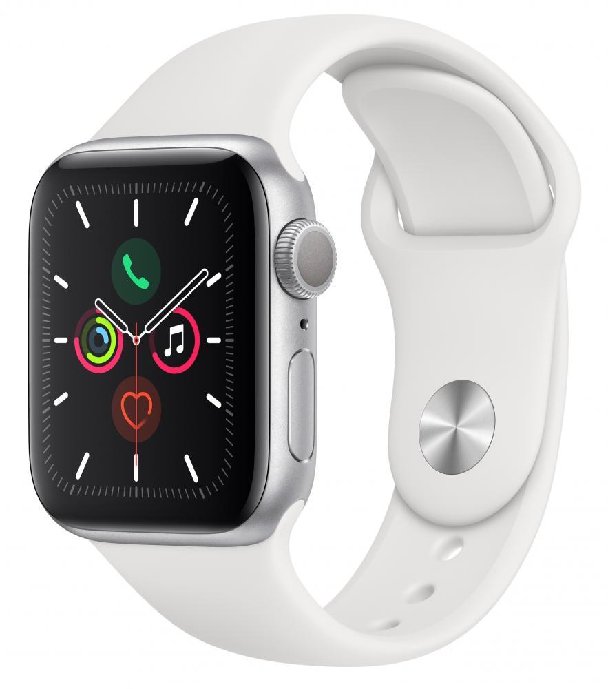 Умные часы Apple Watch Series 5, 40 мм, корпус из алюминия цвета «серебряный», спортивный ремешок цвета белый фото