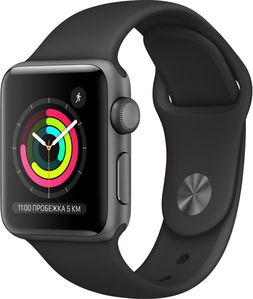 Умные часы Apple Watch Series 3, 38 мм, корпус из алюминия цвета «серый космос», спортивный ремешок черного цвета (MTF02RU/A) Watch Series 3 38mm Aluminum Case with Sport Band фото
