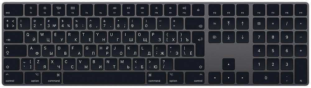 Клавиатура Apple Magic Keyboard (серый космос) Magic Keyboard with Numeric Keypad (MRMH2RS/A) Space Gray Bluetooth фото