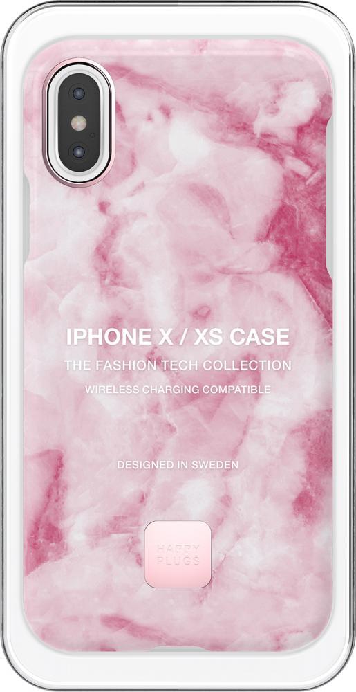 Клип-кейс Happy Plugs для Apple iPhone XS Pink Marble (розовый мрамор)
