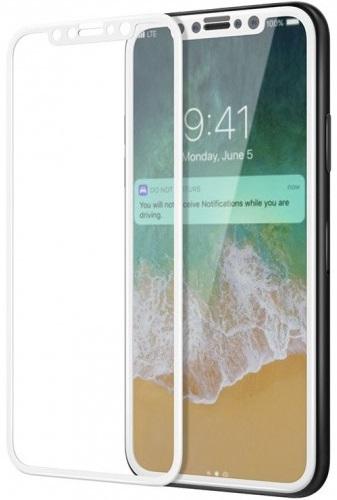 Защитное стекло Luxcase 3D Glass для Apple iPhone X белая рамка (глянцевое) фото