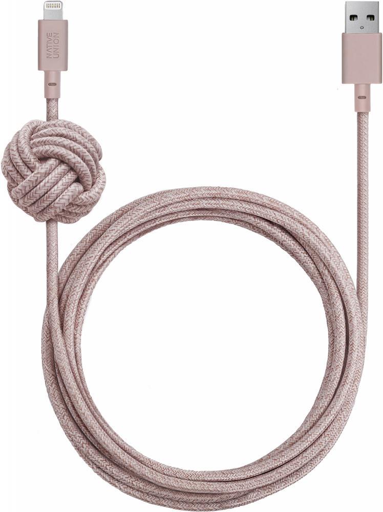 Кабель Native Union Night Cable USB - Apple 8pin 3м (розовый) кабель fujipower розовый