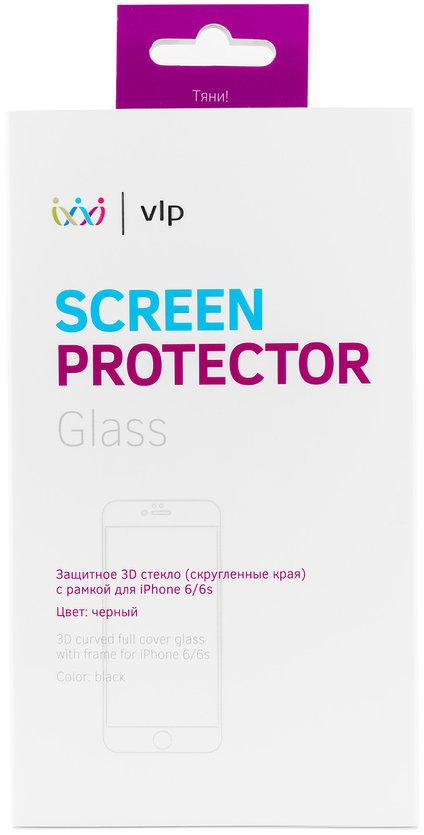 Защитное стекло VLP 3D для iPhone 6/6S черная рамка фото