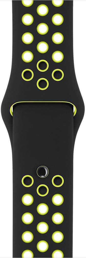 Ремешок Apple Watch 42мм, спортивный Nike «чёрный/салатовый» (S/M и M/L) (черный, салатовый) фото